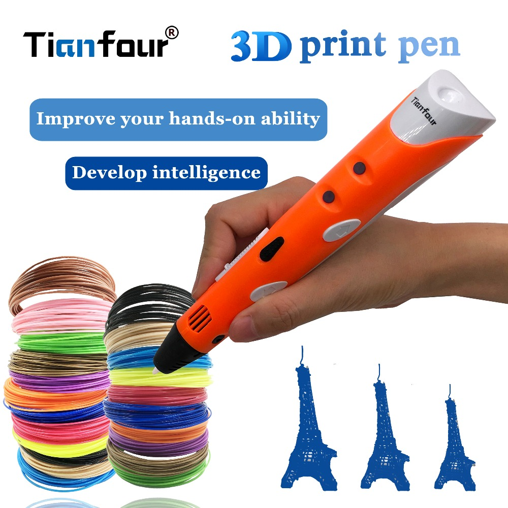 Tianfour 2018 creative toys 3d printing pen 120m 1.75mm ABS Smart 3d drawing pens+paper model drawing board christmas gift toys канцелярские кнопки drawing pin creative office 136