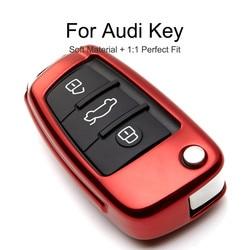 TPU Protection Car Key Case Cover Skin Shell For Audi Q3 A4L A6L Q5 Q7 A1 A3 Key Fob Chain Ring Holder For Audi Q3 A4L A6L Q5 Q7
