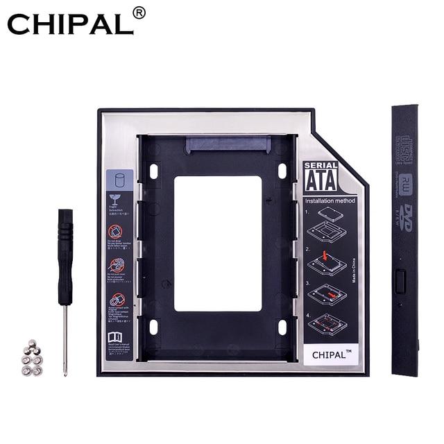 "CHIPAL 10 piezas Universal SATA 3,0 2nd HDD Caddy 12,7mm para 2,5 ""2 T SSD HDD caja con LED para Notebook extraño CD-ROM DVD-ROM"
