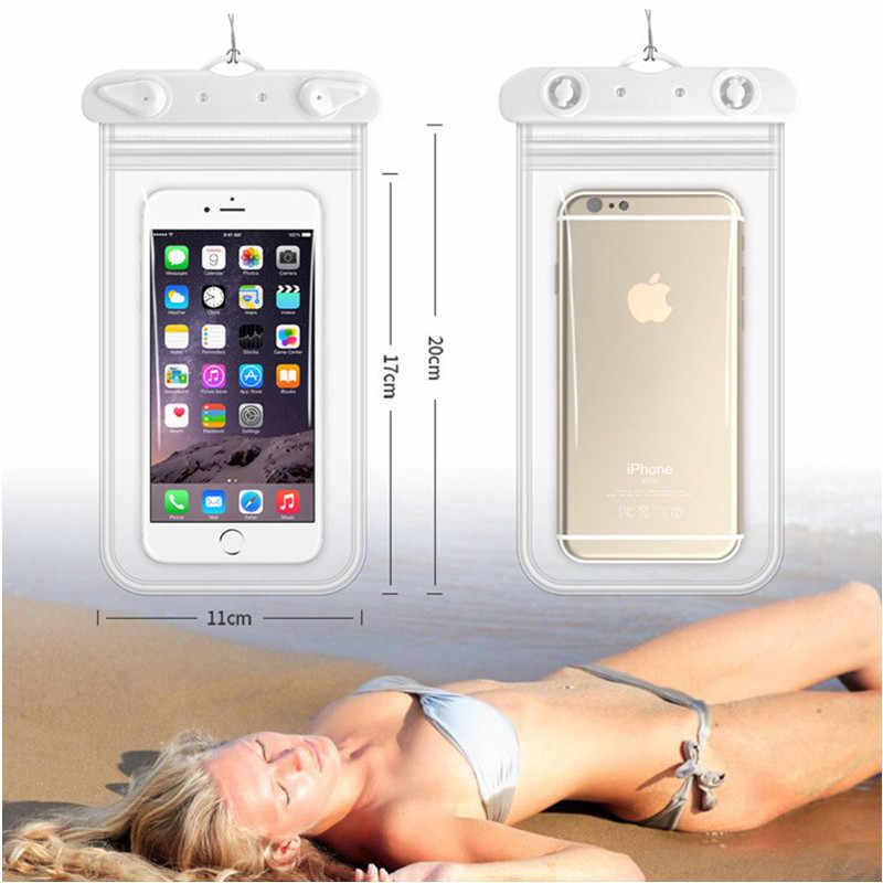 Berenang Tahan Air Ponsel Bag Menyelam Arung Jeram Disegel Ponsel Tas Renang Pouch Case Penutup Telepon Kurang dari 6.2 Inci 11*22 Cm