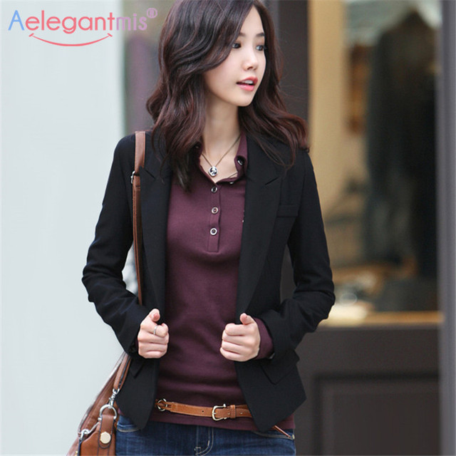 Aelegantmis 2018 Autumn Winter Slim Blazers Women Single Button Notched Blazers Black Plus Size Office Lady Work Suit Jacket  1