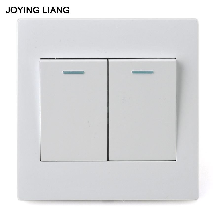 JOYING LIANG Classic 86 Style Two-gang One-way Rocker Switch White PC Panel 250V 10A 86 Wall Switch центральный канал canton cd 1050 black high gloss