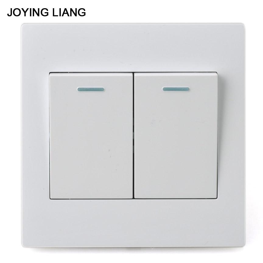 JOYING LIANG Classic 86 Style Two-gang One-way Rocker Switch White PC Panel 250V 10A 86 Wall Switch чехол для zte blade v8 skinbox slim silicone прозрачный