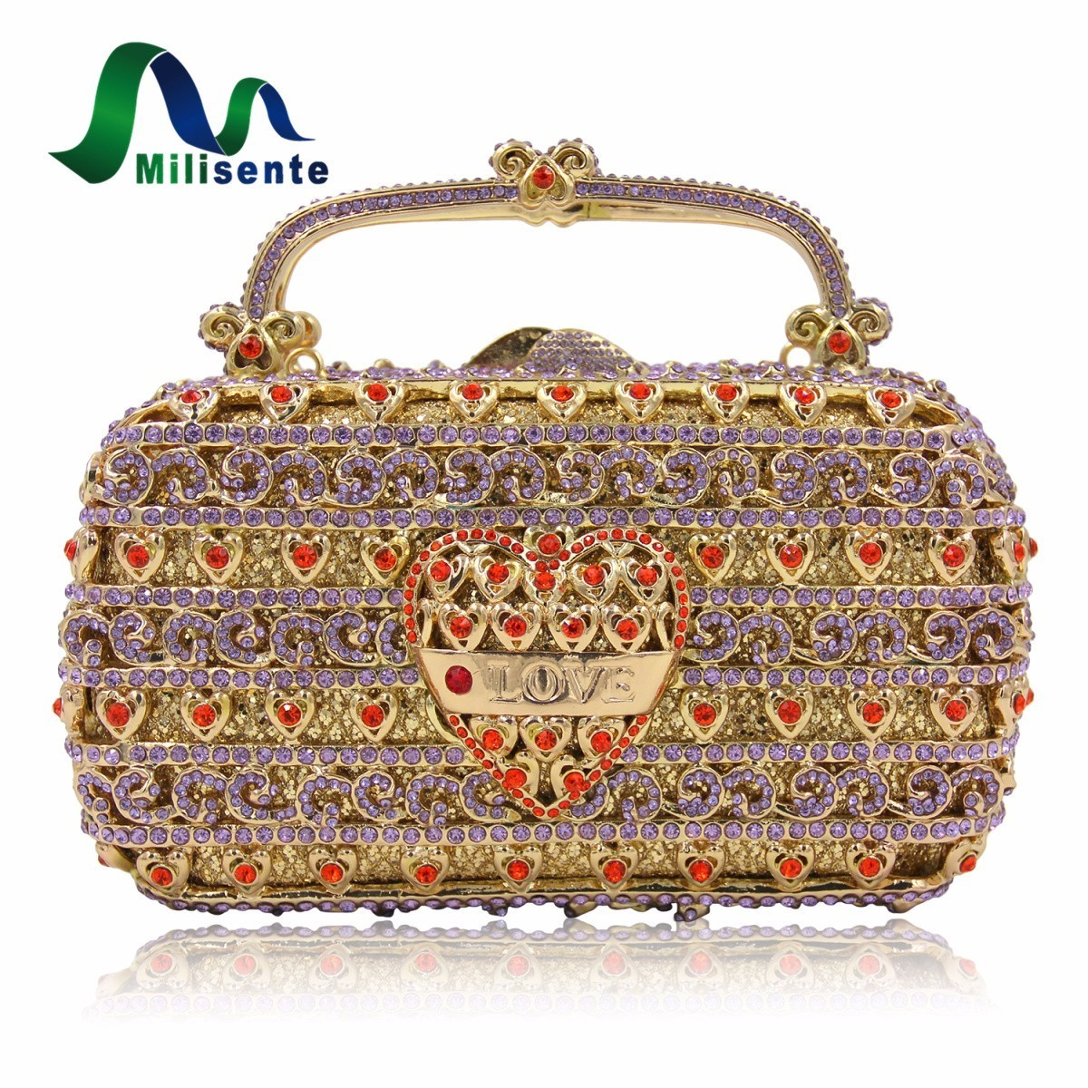 Milisente Women Crystal Evening Bags Luxury Pattern Purple Party Bag Love Heart Designer Wedding Clutches Purses Long Chain milisente high quality luxury crystal evening bag women wedding purses lady party clutch handbag green blue gold white