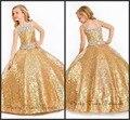 Crianças Ball Vestido Prom Vestidos Longos Até O Chão Spaghetti Contas de Cristal Bling Bling Lantejoulas de Ouro Das Meninas Vestidos Pageant 2017