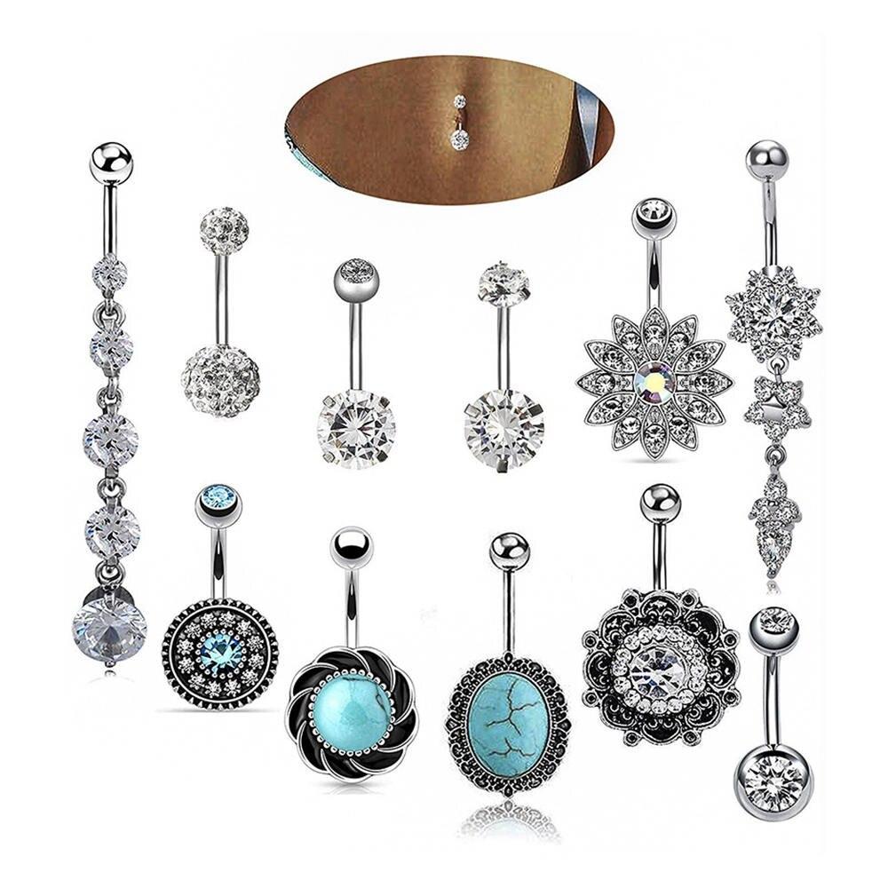11pcs Steel Belly Button Rings Crystal Piercing Navel Piercing Navel Earring Belly Piercing Sex Body Jewelry Piercings ombligo