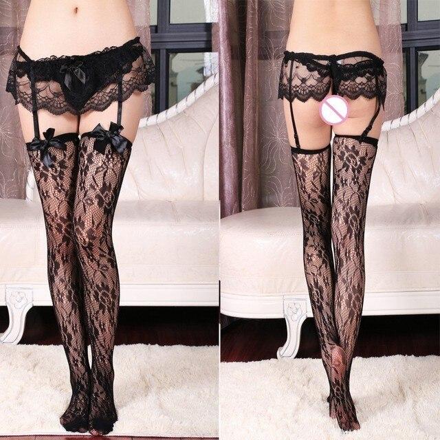2016 Sexy Garter Belt Stocking Set Women Black Lace Floral Sheer Tight Slim Net Stockings Transparent Erotic Lingerie Pantyhose