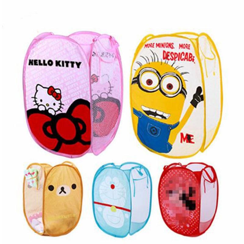 Minions Hello And Kitty Folding Dirty Clothing Laundry Bucket Storage Basket Children's Toys Shoe Sundries Storage Organizer