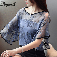 Dingaozlz Roupas feminina Elegant Ruffles Female Tops Summer Women blouse Half sleeve embroidery Lace shirt Blusa
