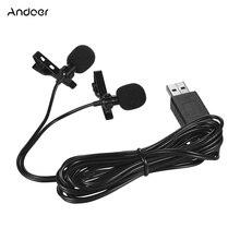Andoer USB Dual Lavalier Lapel ไมโครโฟนแบบคลิปคอมพิวเตอร์ Mic สำหรับ Windows Mac วิดีโอเสียง