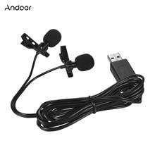 Andoer USB Dual head Lavalier Revers Microfoon Clip on Omnidirectionele Computer Mic voor Windows Mac Video Audio opname