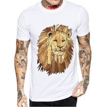 Mens Tshirts Cotton 2019 New Arrivals Short Sleeve Men T Shirt Fashion Creative Lion Printed T-Shirt O-Neck Tops Tee Shirts