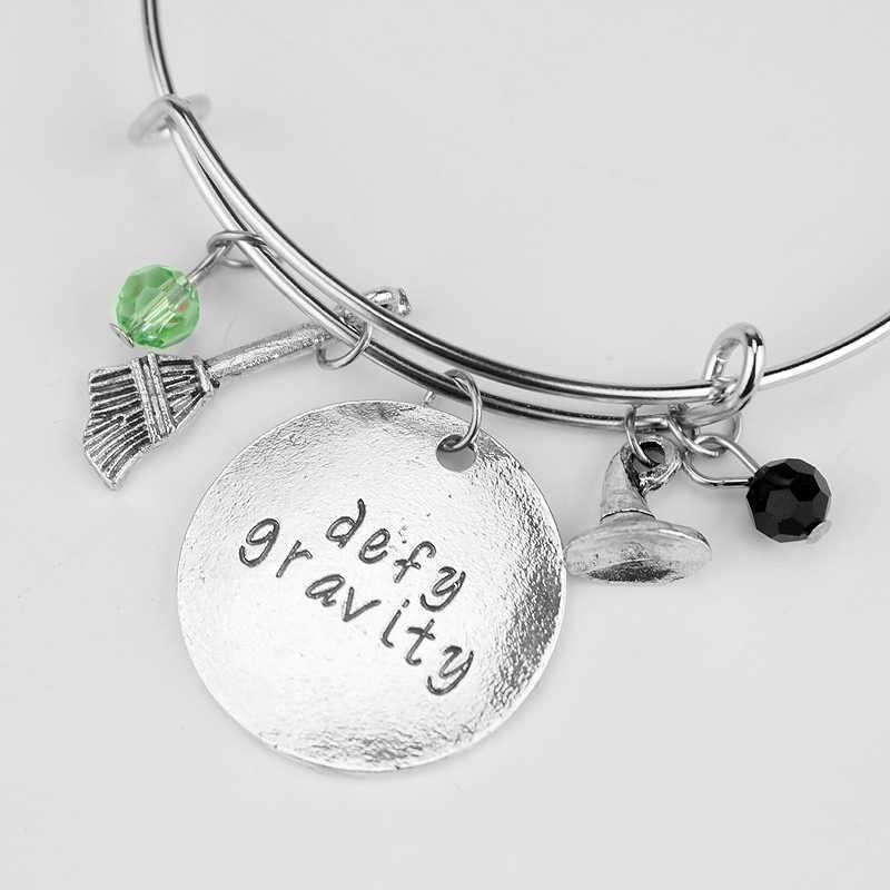 """Wicked the Musical Inspired Crystal Bangle Bracelet """"defy gravity"""" Elphaba Glinda Adjustable Bracelet Bracelets for Women Girl"""