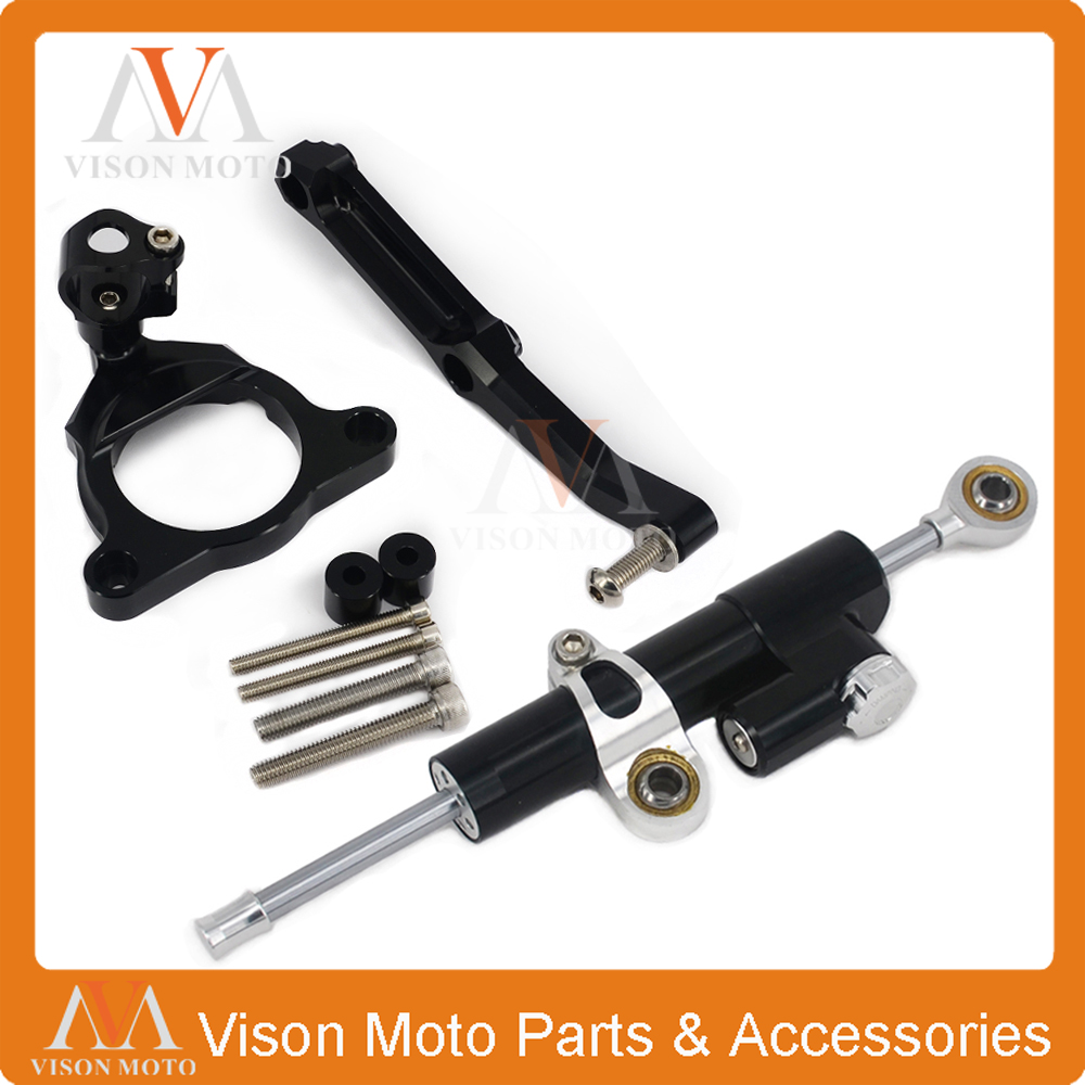 CNC Steering Damper Set Stabilizer With Bracket Mounting Assemblly For KAWASAKI Z800 13 14 15 2013 2014 2015 cnc steering damper set stabilizer with bracket mounting assemblly for kawasaki ninja300 ninja 300 ex300 13 14 15 16 2013 2016