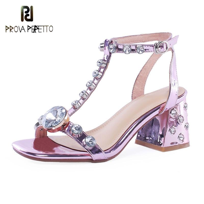 Prova Perfetto Summer Wedding Sandals Women Rhinestone Sandals Shoes Woman Fashion Brand Design Square High Heels