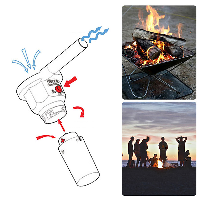 5V Rechargeable Lightweight Portable BBQ Fan Air Blower Lightweight Portable for Outdoor Cooking Camping Picnic Barbecue Air Blower