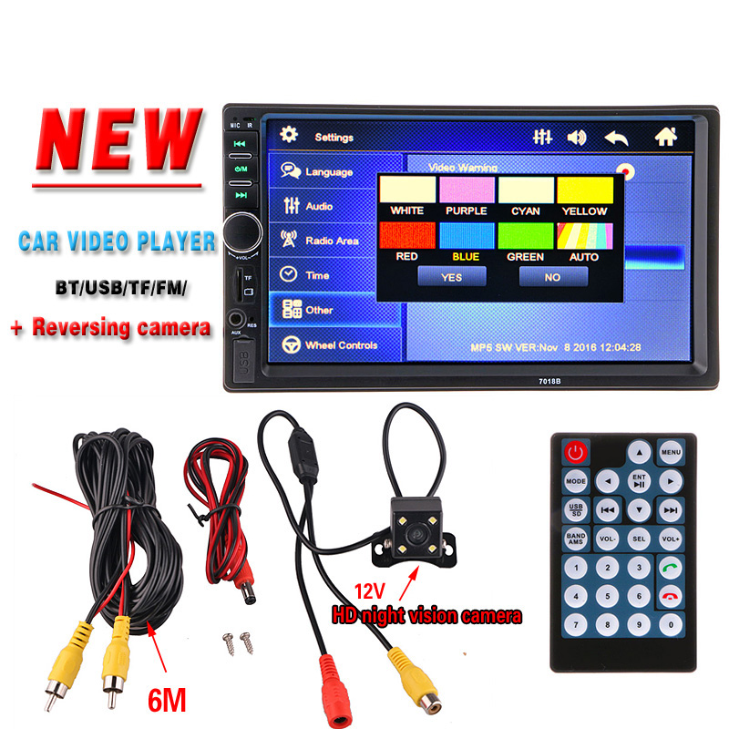 2 Din Car Radio Video Player 7'' HD Bluetooth Rear View Stereo FM MP3 MP4 MP5 Audio USB AUX Auto Electronics autoradio 7018B