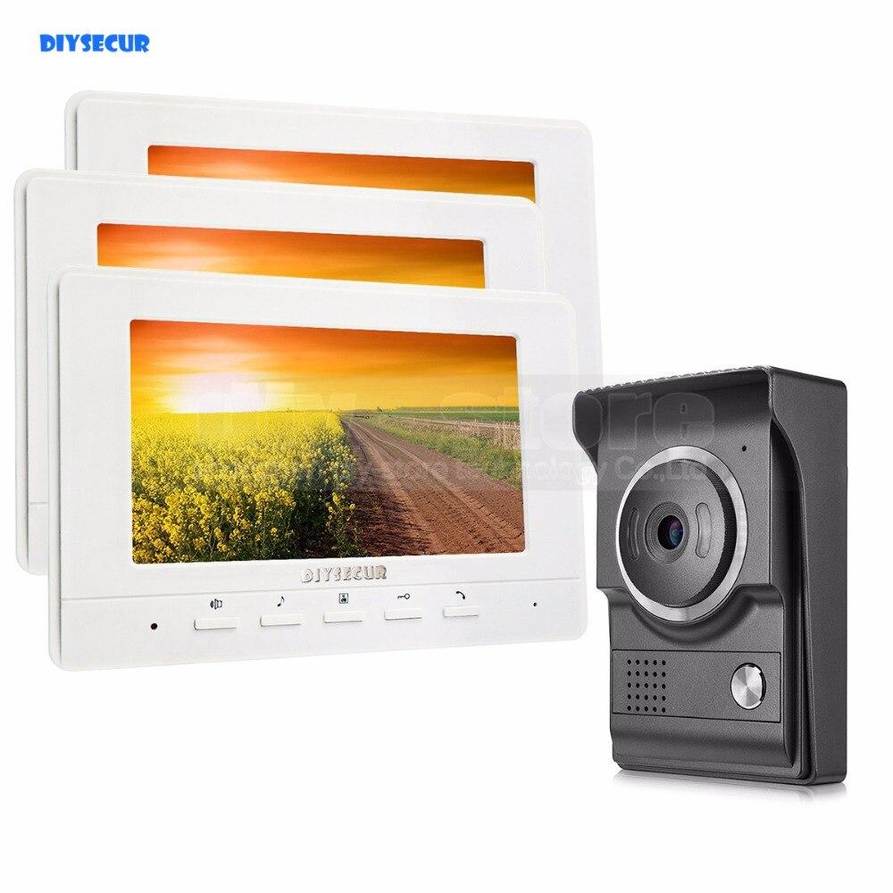 DIYSECUR 7 pouces Vidéo Interphone Vidéo Porte Téléphone 700TV Ligne IR Nuit Vision HD Caméra pour La Maison Bureau Usine Blanc 1V3