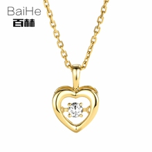 BAIHE Solid 14K Yellow Gold 0.08ct Certified Genuine Natural Dancing Diamond Engagement Women Trendy Jewelry unique Necklaces