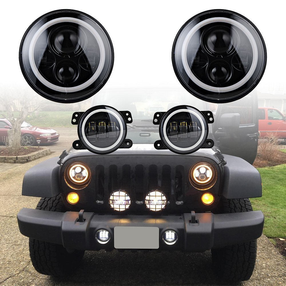 7 Round White / Amber Angle Eye Headlight + 4  LED Fog Light White Halo Angel Eye DRL For 07-16 Jeep Wrangler JK