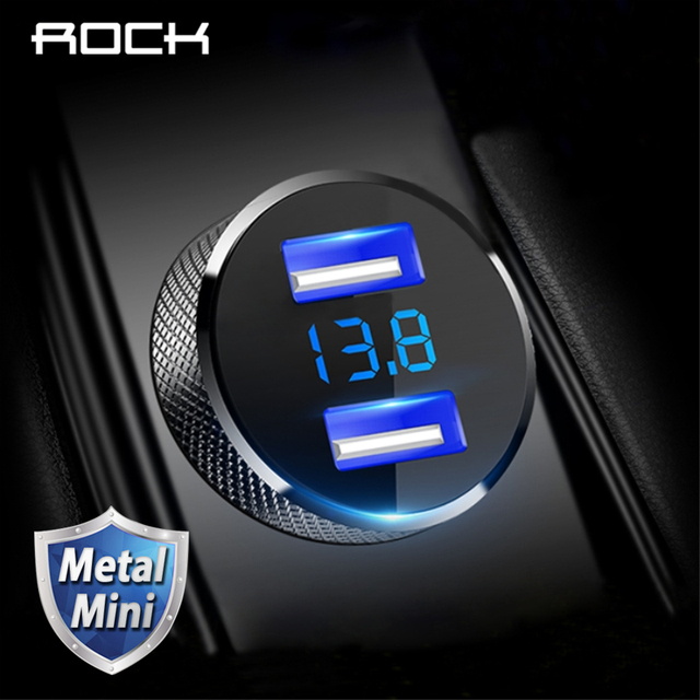 ROCK Metal Digital Display Dual USB Car Charger 3.4A For iPhone X 8 7 Xiaomi Samsung Fast Charging Voltage Monitoring Phone
