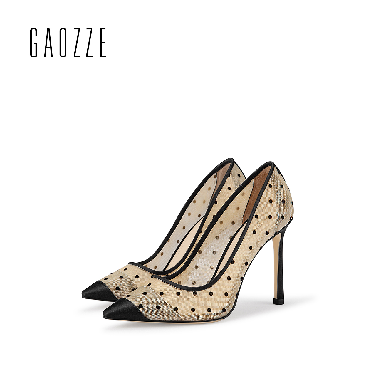 GAOZZE Fashion Polka Dot Mesh Women Sexy Stiletto High Heel Shoes Pointed Toe Party Shoes Pumps Women Heels Pumps 2018 Spring wholesale lttl new spring summer high heels shoes stiletto heel flock pointed toe sandals fashion ankle straps women party shoes