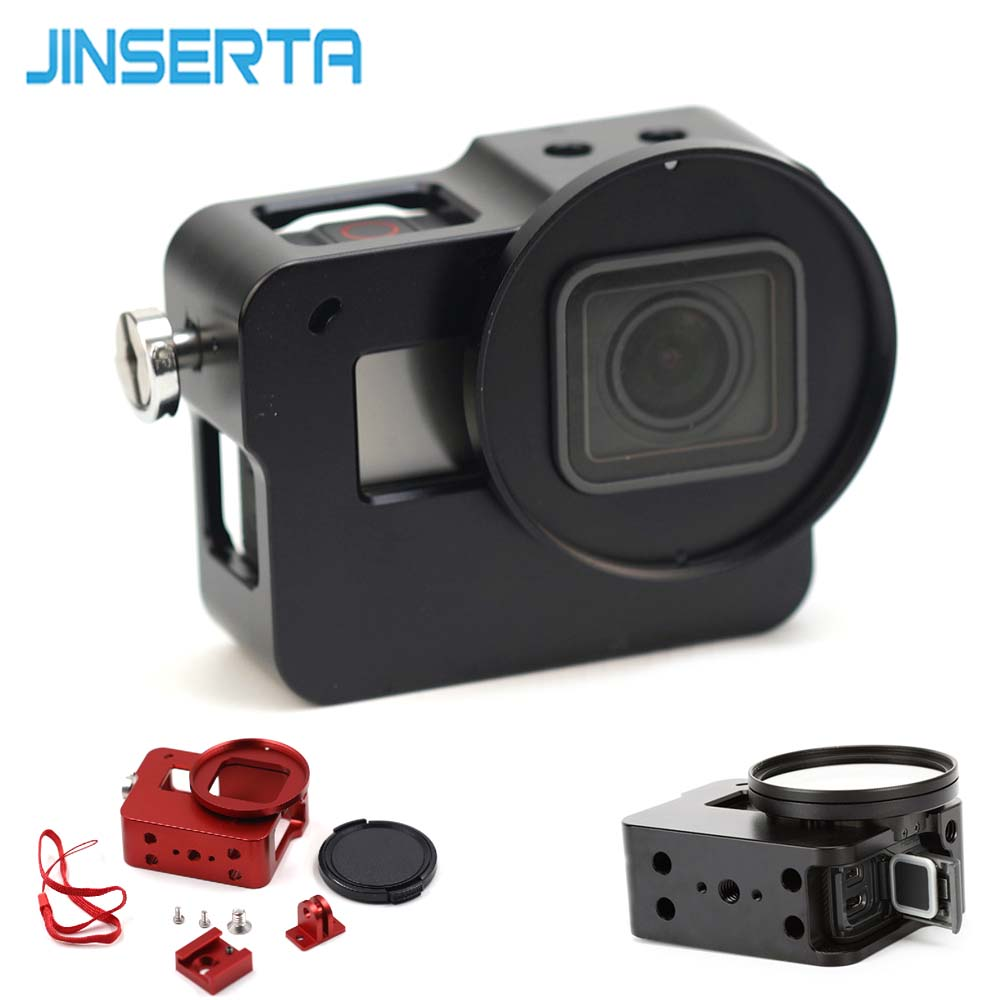 JINSERTA CNC Aluminum Alloy Protective Case for GoPro HERO 6 5 Black Camera Cage Mount Protective Frame Case with 52mm UV Lens 5pcs 2000mah bateria np fw50 npfw50 np fw50 batteries for sony nex 5 nex 7 slt a55 a33 a55 a37 a3000 a5000 a51000 a6000 cameras