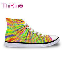 Thikin 2019 New High Top Canvas Shoes for Teenager Popular Women Fluorescence Color Sneaker