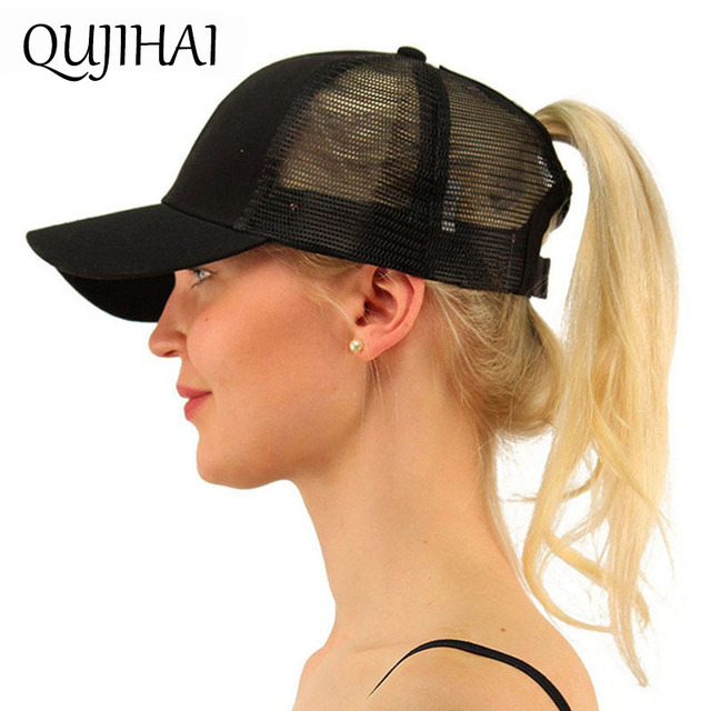 QUJIHAI Ponytail Baseball Cap Women Put Hair Out Messy Bun Baseball Hat Snapback Cotton Mesh Cap Hat Girl Bone For Drop Shipping