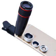 Buy online 12X Optical Zoom Camera Telephoto Lens Phone Telescope 3 In1 Clip Lens Kit Wide Angle Fish Eye Macro for All Phone Free Shipping