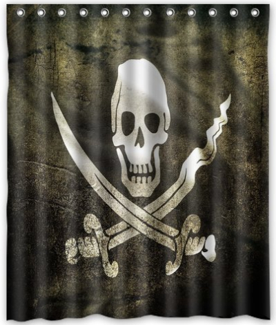 Free Shipping The Pirate Skull Shower Curtain Bath High Quality Of 60