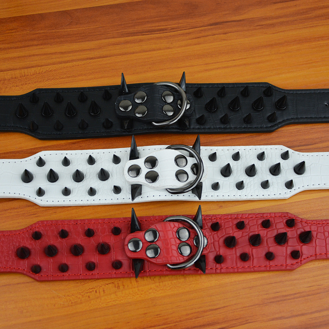 Red Spiked Dog Collar (Black, White) with Chain