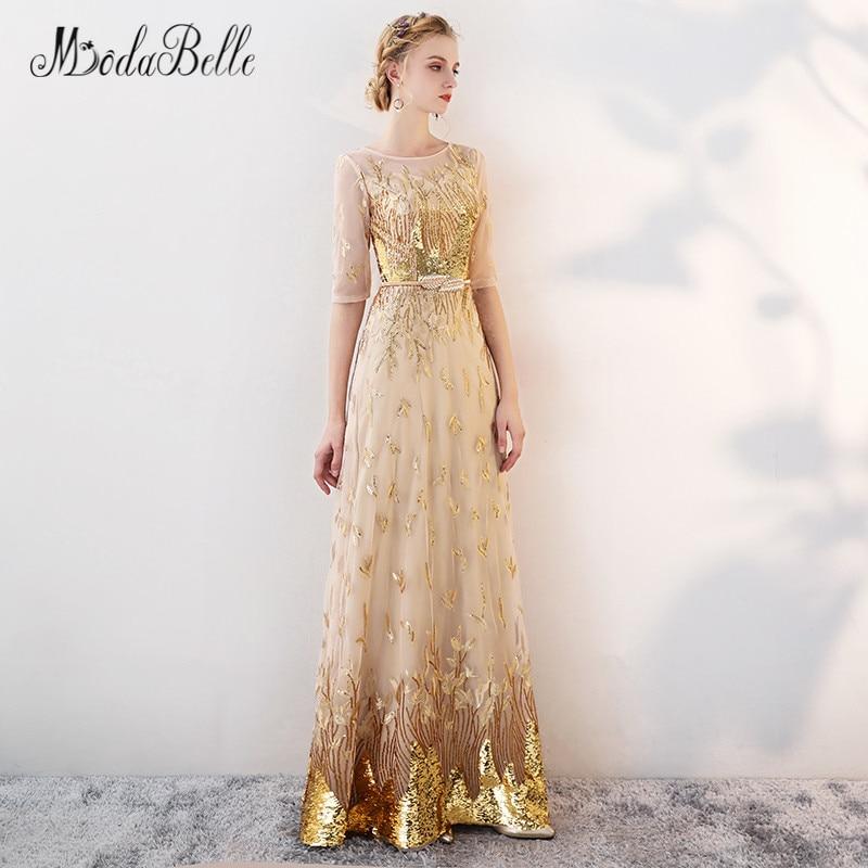 Modabelle or Sequin robe de bal avec manches modeste 2018 étage longueur robes de célébrité élégant robes robe de soirée formelle - 6