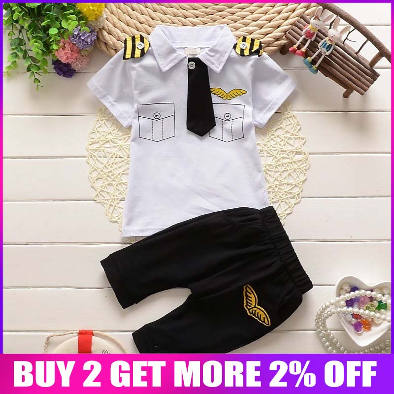 new Spring summer Kids Clothes Navy Pullover Striped Sports Suit Hot Sale 2016 Casual tshirt + shorts Boys Clothing Set for boys Одежда