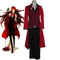 High Q Unisex Japan Anime Cos Black Butler Grell Sutcliff Red Butler Cosplay Costume Set