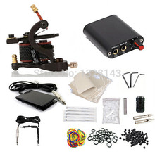 New Brand 100% 1 set Complete Tattoo Equipment Supply Professional Power Supply Machine Gun Tattoo Kit Set Free shipping