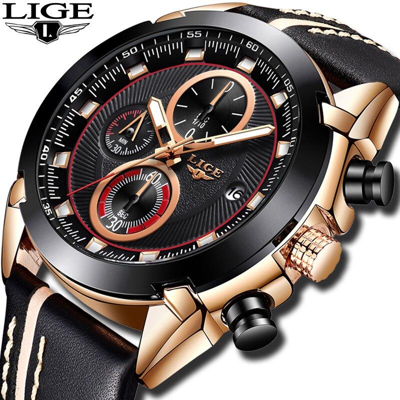 Relogio Masculino 2019 LIGE Men Watch Fashion Casual Leather Top Brand Luxury Quartz Watch Men Military Sport Waterproof Clock Quartz Watches     -
