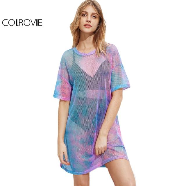 Colrovie многоцветный Tie Dye ажурные летнее платье 2017 Повседневное заниженной линией плеч Для женщин Цельнокройное платье мини Платья для женщин пикантные полупрозрачная платье-майка