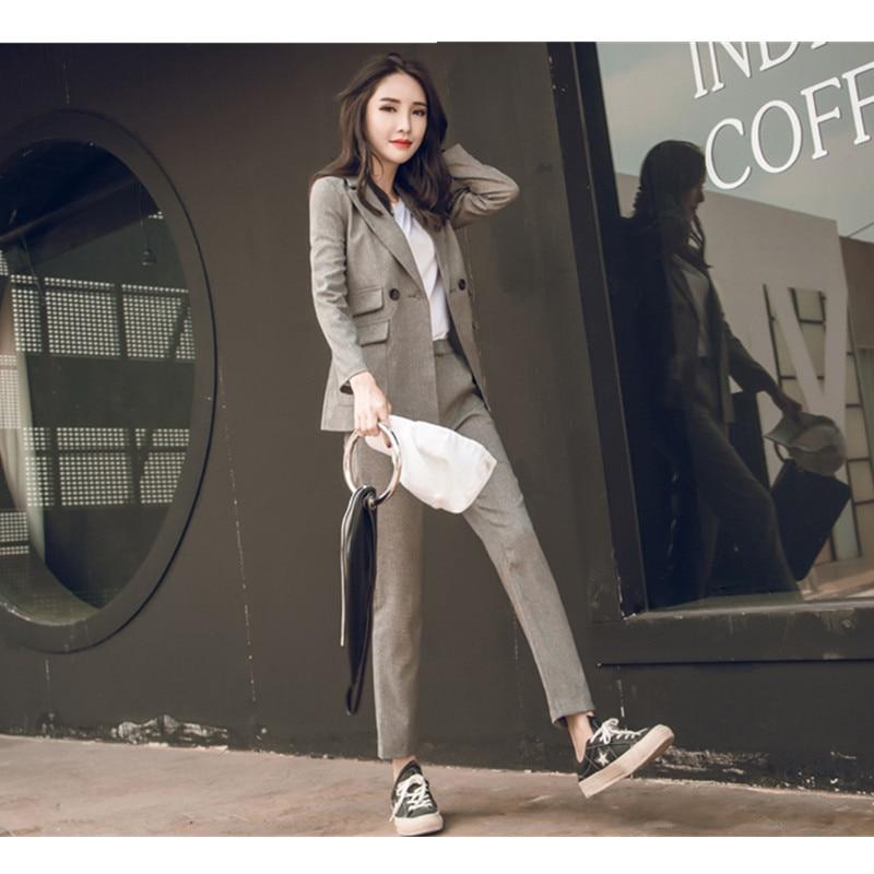 new Women 2 Pieces Sets Womens Business Suits black Pants Suit Formal OL Business Suit Long Sleeve trouser suit