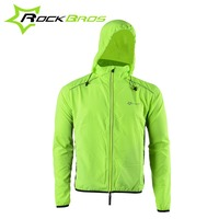 ROCKBROS Reflective Jacket Hood Cycling Sport Jackets Breathable Bike Bicycle Jacket Long Sleeve Windproof Wind Coat