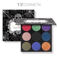 TZ Brand 9Colors Eyeshadow Palette Matte Diamond Glitter Foiled Eye Shadow in One Palette Blush Makeup Set for Beauty