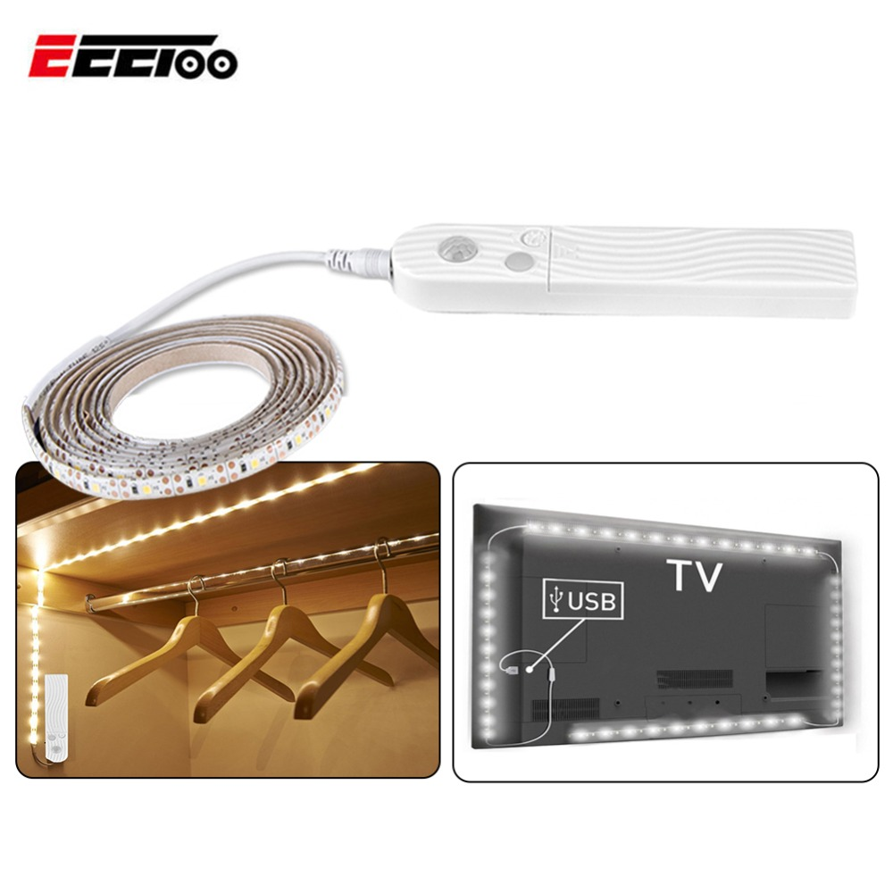 1m 2m 3m LED Under Cabinet Light Strip Kitchen PIR Motion