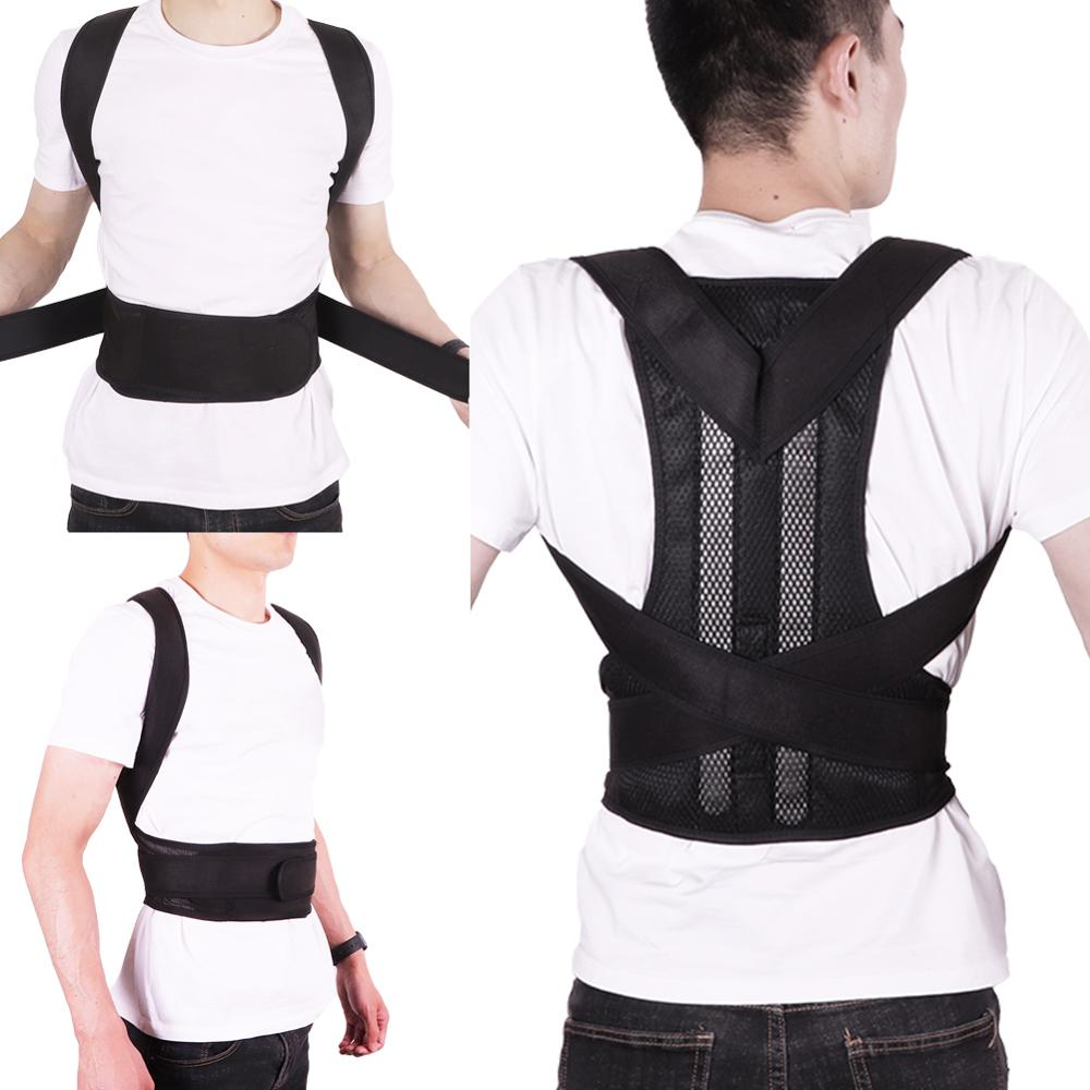Adjustable Black Back Posture Corrector Shoulder Lumbar Spine Brace Support Belt Health Care for Men Women Sport Accessories