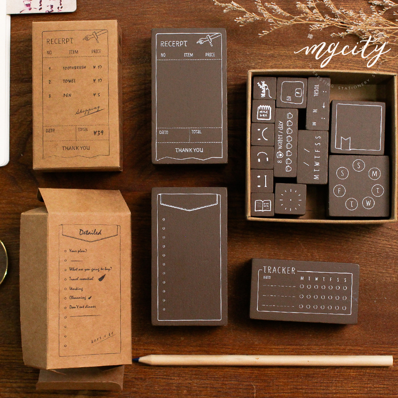 XINAHER Vintage Time Planner Record List Stamp DIY Wooden Rubber Stamps For Scrapbooking Stationery Scrapbooking Standard Stamp