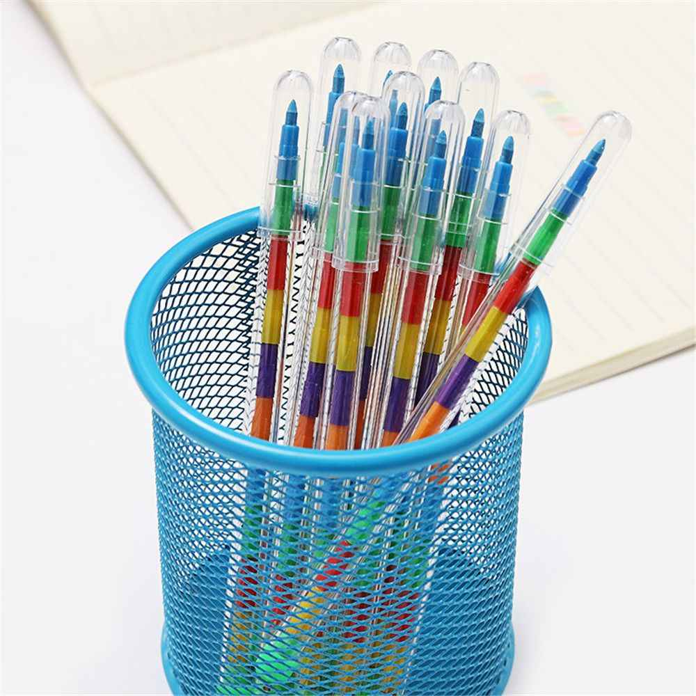2PCS น่ารัก DIY เปลี่ยนได้ดินสอสี 10 สีพาสเทลน้ำมัน Graffiti ปากกาดินสอสำหรับเด็กเด็ก Kawaii ชุดเครื่องเขียนของขวัญ
