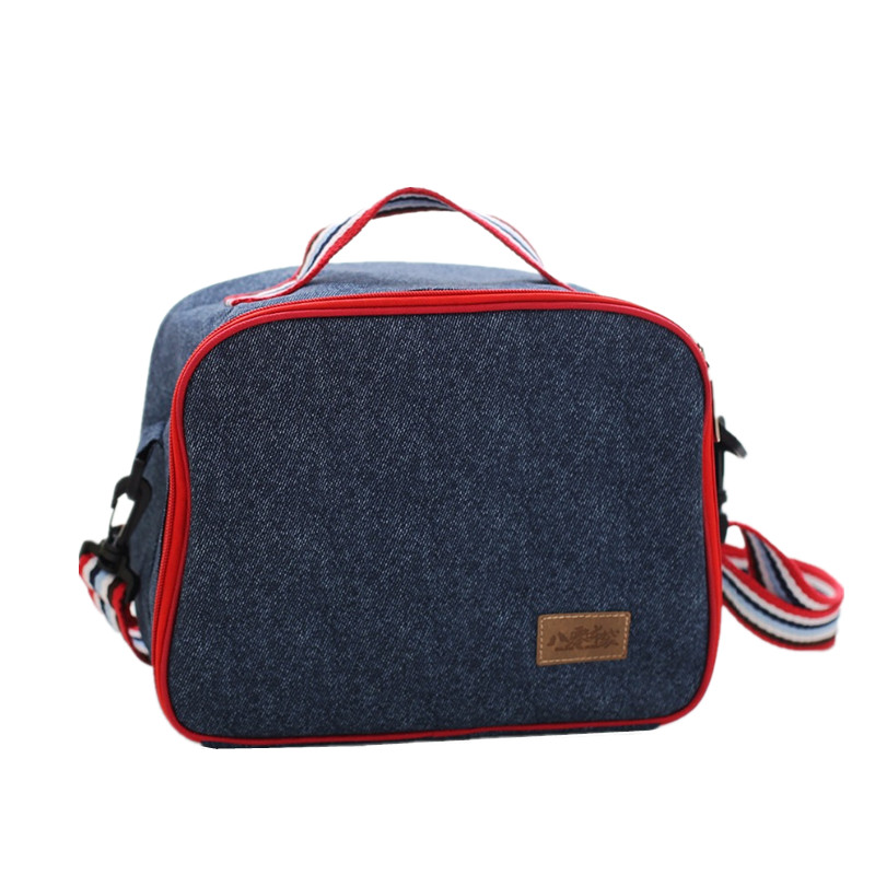Denim Messenger Lunch Bag For Woemen Kid Picnic Bento Box Insulated Pack Drink Food Snack Thermal Leisure  Accessories