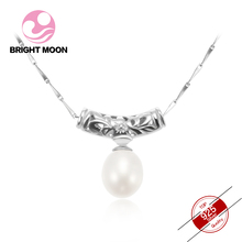 Bright Moon Vintage Totem 925 sterling silver Drop Necklace 10-11mm Freshwater Pearl Jewelry Luxury Necklace for women Gift Bag