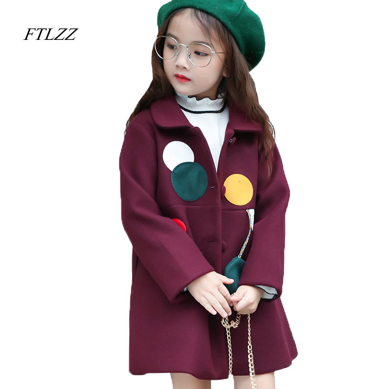 Фото Ftlzz New Autumn Winter Baby Girls Tweed Coat Solid Patchwork Cute Dot Fashion Casual Turn-down Collar Medium Long Outerwear