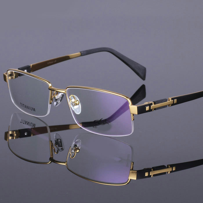 High Quality Titanium  Glasses Frame Men Square Semi-Rimless Silver Gold Black Gun Glasses Gafas Myopia Oculos De Grau Masculino