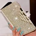 Стильный Кристалл Алмаза Белый Кожаный Флип Бумажник Телефон Случаях Coque Обложка для iPhone 5s SE 6 7 Plus для Samsung S5 6 7 Примечание случае
